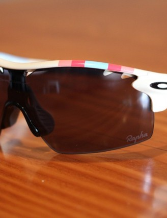 Oakley offers custom colors for its cycling sunglasses. These were made for the Rapha cyclocross team