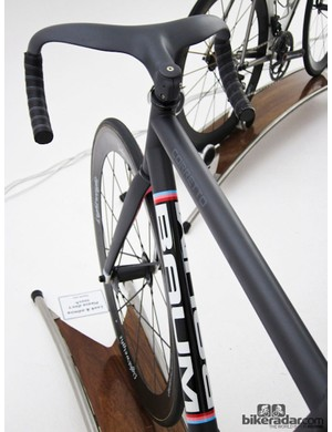 The integrated stem and bar on this Baum track bike drew attention