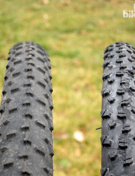Rim width can have a huge influence on inflated clincher tyre volume. Both of these tyres are labeled 33mm (and are similarly sized when mounted on identical rims) but the one on the left measures 38mm across while the one on the right is barely 30mm - all because of the rims on which they're mounted