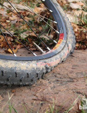 If you've done it right, the tyre can actually fold completely beneath you without breaching the seal. Get it wrong, however, and the results can be catastrophic. We've had especially good results from the combination of a Stan's NoTubes mountain bike rim and Clement tyres.