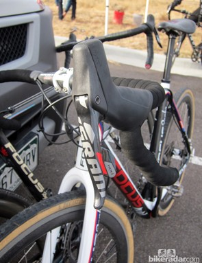We spotted SRAM's new Red hydraulic road disc brakes at a local cyclocross race near the company's brake development headquarters in Colorado Springs