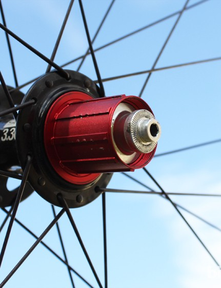 The aluminum freehub body has a bit of marring after a season of use. The rear hub can be converted from the 135mm quick-release version shown here to the 142x12mm standard found on many modern mountain bikes