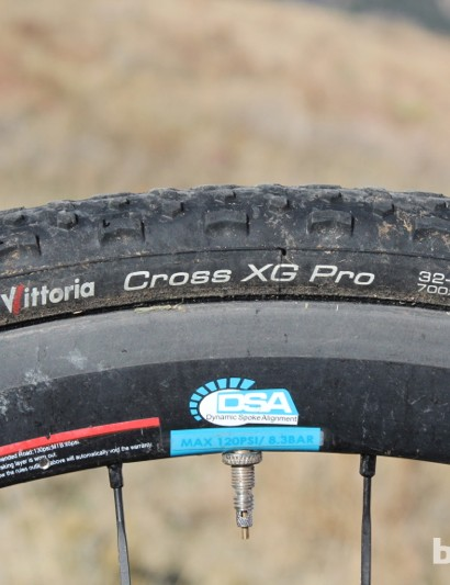 Vittoria's Cross XG Pro tires measure a scant 29mm on the Cole rims