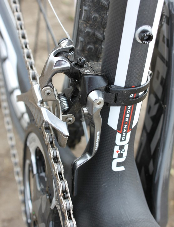 A SRAM Red front derailleur with integrated chain watcher shifts between the 46- and 36-tooth WickWerks chainrings