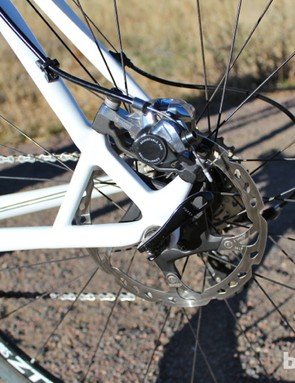 The reinforced frame puts the Shimano caliper on the seat stay