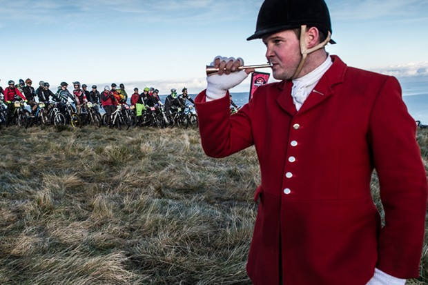 The hunter's horn signals the start of the action for Gee Atherton at this year's Red Bull Foxhunt