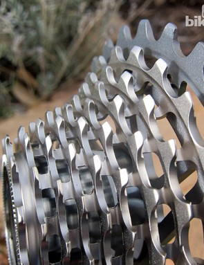 Cutouts milled between each cog give mud, snow, and water somewhere to flow - the key reason why 'cross racers shy away from the standard SRAM Red cassette, which doesn't boast them