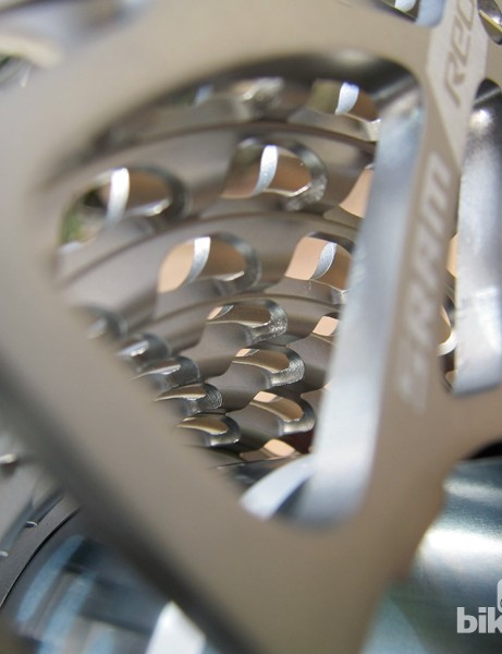 While typical cassette cogs are individually stamped, the SRAM XG-1090 CX uses the company's Powerdome construction, which machines a hollow cone from a single block of steel