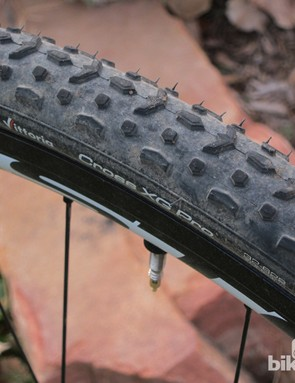 The Vittoria Cross XG Pro's tubeless-ready TNT casing is thicker and stiffer than a conventional clincher but the tire can be reliably run tubeless at lower pressures than typical conversions