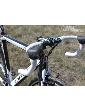 Dura-Ace STI levers mounted to Shimano's PRO handlebar and stem