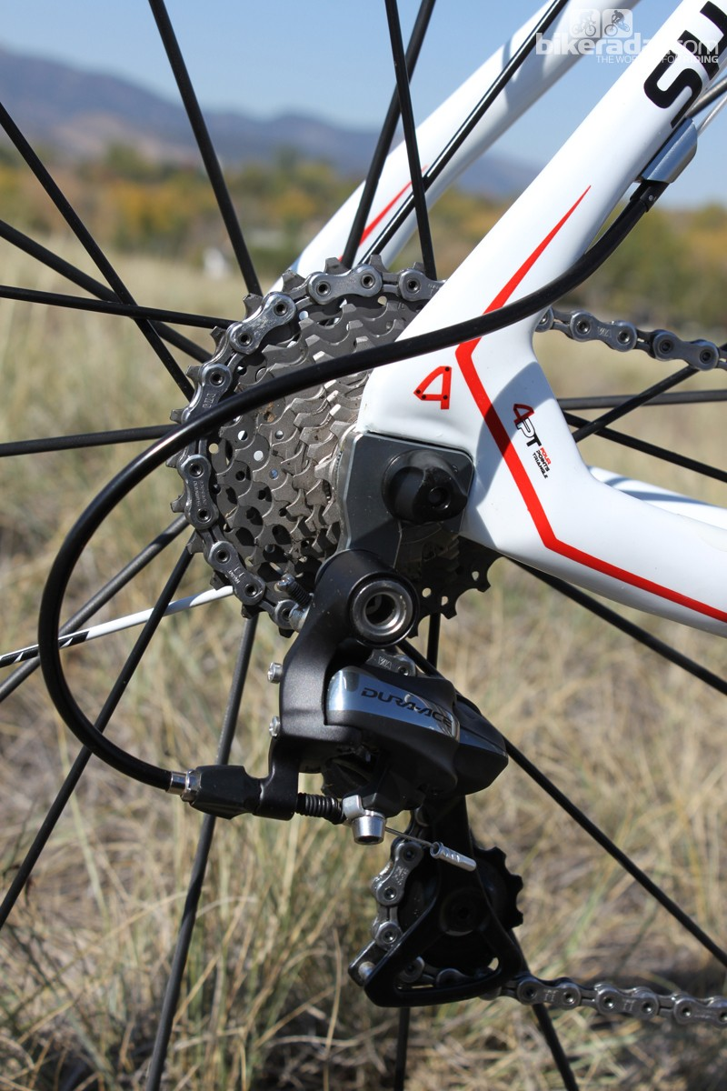 The Dura-Ace rear derailleur is paired with a 12-17T Dura-Ace cassette