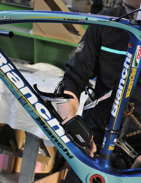 Bianchi's 2013 Vacansoleil-DCM team bike will come with FSA cranks and brakes in addition to Campy parts