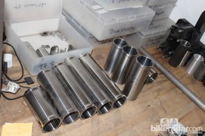 Head tubes are machined inside the shop