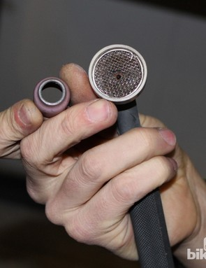 Barcheck shows the titanium welding torch head (installed) and the smaller steel head (in between thumb and index finger)