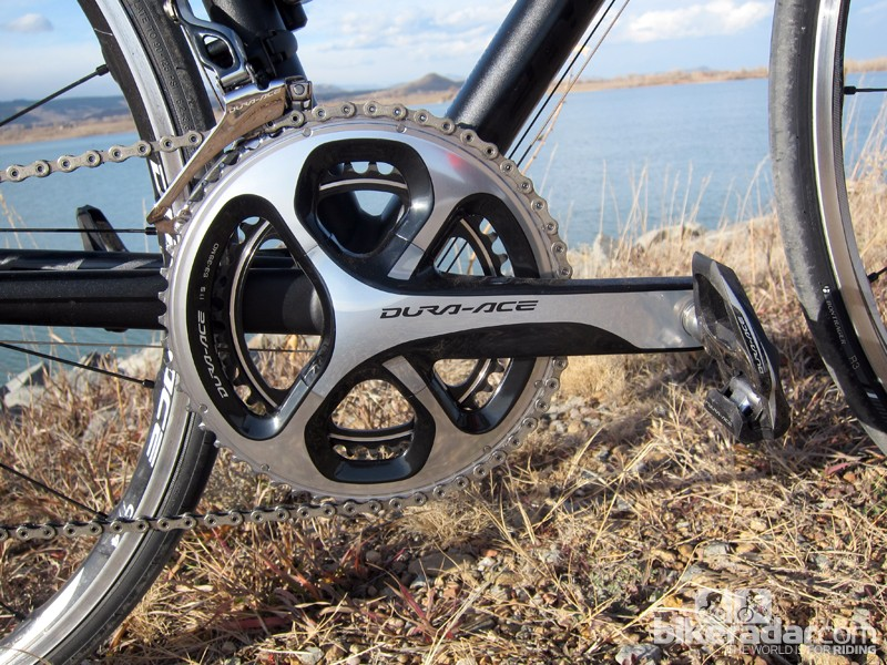 The new four-arm chainring bolt circle is not radially symmetric. Instead, Shimano says the arms are more aligned with how forces are transmitted during the pedal stroke, adding more material where it's needed and removing it where it isn't. Replacement chainrings will almost certainly be very expensive