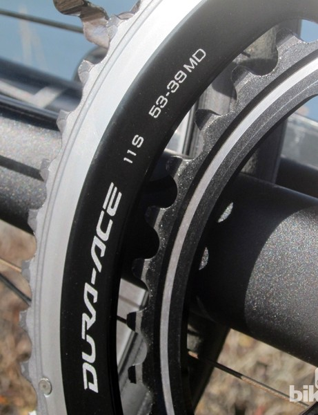 The outer chainring again uses Shimano's hollow construction for fantastic stiffness while the inner ring is aggressively machined to save weight. Somehow, front shift performance is even better than it was before