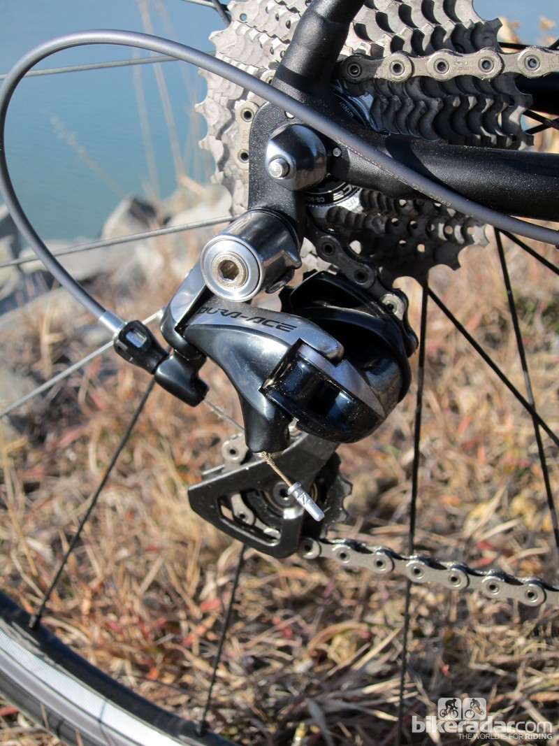 The new Shimano Dura-Ace 9000 rear derailleur features a new cable-pull geometry plus a smoother, sleeker shape