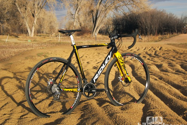 The Ridley X-Fire is among several disc-equipped cyclocross options for 2013. A slightly toned-down version of the company's top-end X-Night, the X-Fire features a slightly lower bottom bracket and a subtly more comfortable ride