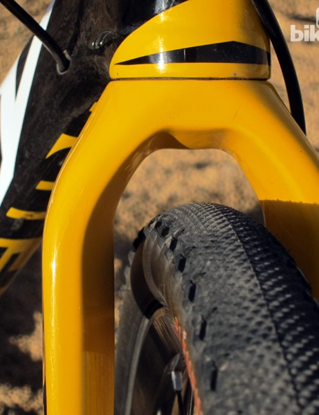 Tire clearance is reasonable all round. Keep in mind that this image is a bit deceiving as the pictured tire measures about 36mm across - 3mm wider than the maximum size mandated by the UCI
