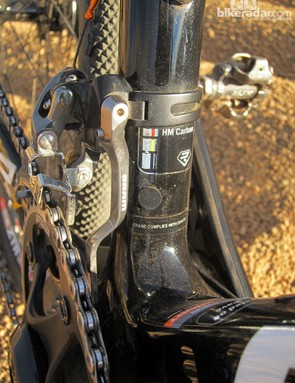 The Ridley X-Fire Disc frame can be built with either mechanical or electronic drivetrains with ports built in for wiring