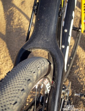 The seat stays are slightly scalloped to provide a bit more room around the tire