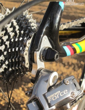 Ridley includes a stout, machined aluminum derailleur hanger for the X-Ride Disc