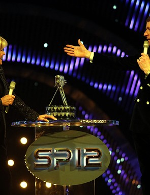 Sue Barker (left) speaks to Bradley Wiggins during the BBC Sports Personality of the Year Awards 2012 at ExCeL London.