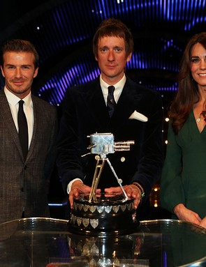 Winner of Sports Personality of the Year 2012, Bradley Wiggins with David Beckham (left) and The Duchess of Cambridge during the BBC Sports Personality of the Year Awards 2012 at ExCeL Arena, London