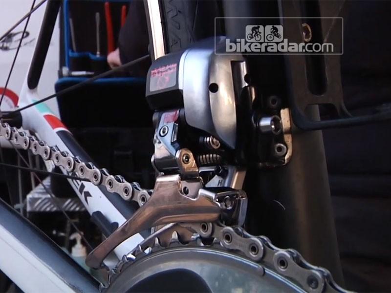 The Shimano Dura-Ace Di2 9070 front derailleur on Fabian Cancellara's Trek Domane