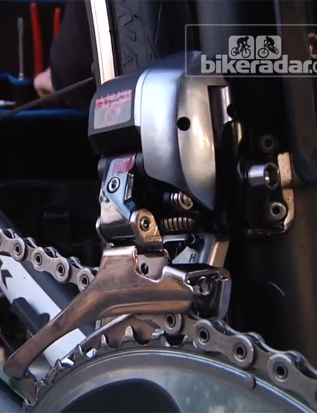 The Shimano Dura-Ace Di2 9070 front derailleur on Fabian Cancellara's Trek Domane