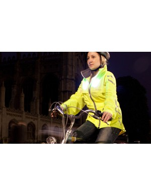 White LEDs light up on the front of the Visijax cycle jacket