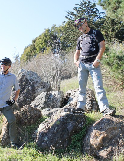 Dan Schneider of SFUR and Hans Rey discussing bike park and trail plans