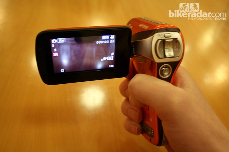 The HX-WA2 camcorder is designed to be held in a pistol-style grip