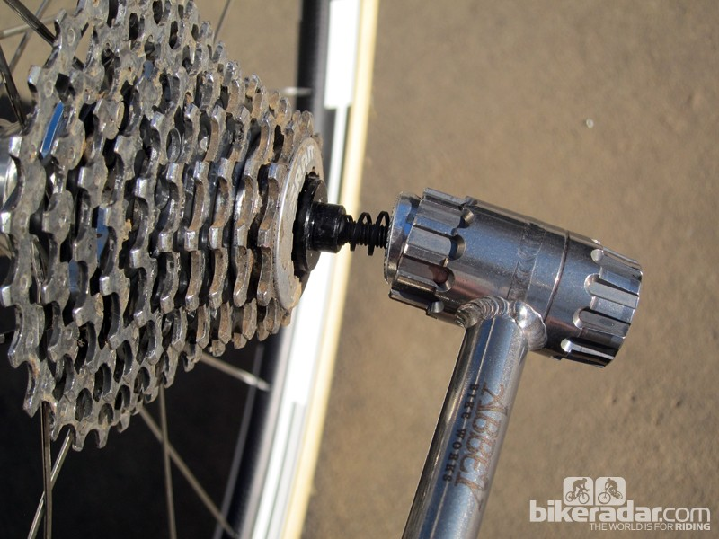 The business end of the Abbey Bike Works Crombie is hollow so it will fit over most - but not all - quick-release nuts