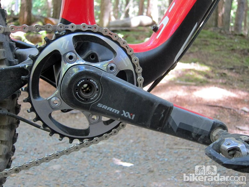 The new SRAM XX1 crankset is lighter than XX by virtue of having just one chainring, but the arms themselves are bigger and heavier. Note the asymmetrical bolt circle pattern, too, which allows the chainring to slide out around the crankarm, for easier ratio changes, while virtually guaranteeing that it can't be installed wrong