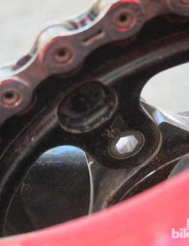 Threads are integrated into the SRAM XX1 chainring for easier installation and removal. Note how the chainring is backed by tabs on the spider, too, removing much of the load from the bolts themselves