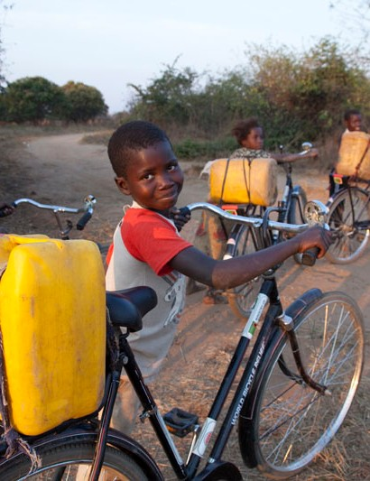 World Bicycle Relief's Buffalo bikes aren't just useful for transporting people. They can also be used to haul essentials such as water