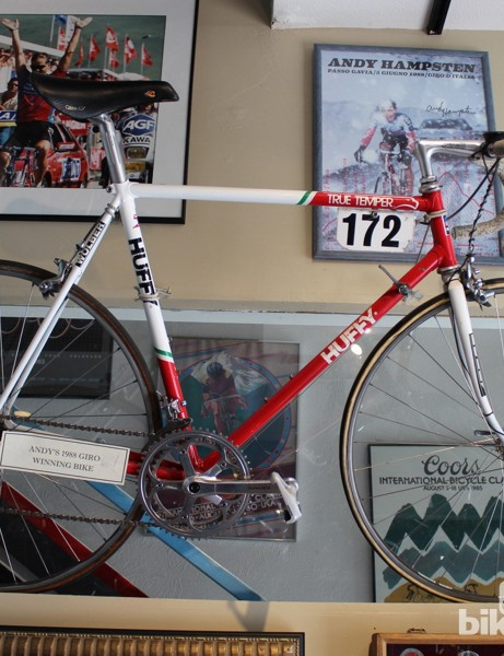 Andy Hampsten's Giro-winning bike is one of many historic machines hanging in the shop