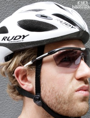Rudy Project's photochromic lenses protect the eyes by becoming dark in bright conditions