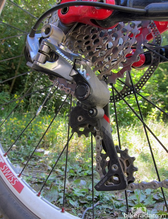 The massive 10-42T SRAM XX1 cassette offers up an impressive range for a single-ring drivetrain. Don't even think about pairing the rear derailleur with a two-ring crankset, though - it just won't work