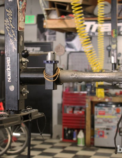 Inverted repair stands can make a bike mechanic's life much easier, especially with repairs or adjustments on the non-driveside of the bicycle