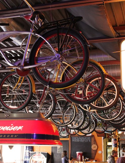 The New Belgium brewery's signature limited editon cruiser bikes hang from the rafters of the bar