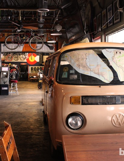 This VW bus doubles as the sound booth for concerts