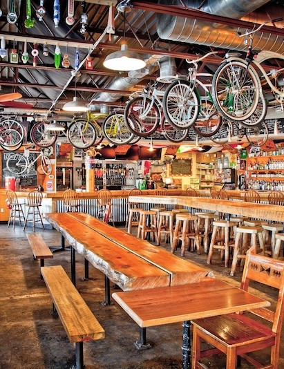 Like the bike shop, the bar has a friendly and inviting vibe