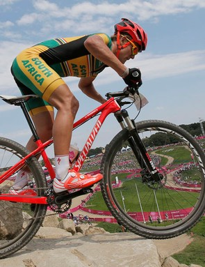 Burry Stander competing in this year's Olympic Games mountain bike race. The South African was killed after being hit by a car on January 3 2013