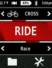 The Garmin Edge 510 first presents you with this welcome screen where you can choose the bike you're riding and the activity type. Provided you've invested the time to set things up, the data screens are then fully customized based on your preferences