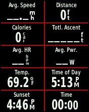 The Garmin Edge 500 can display a maximum of eight data fields but the Edge 510's larger screen will fit up to 10