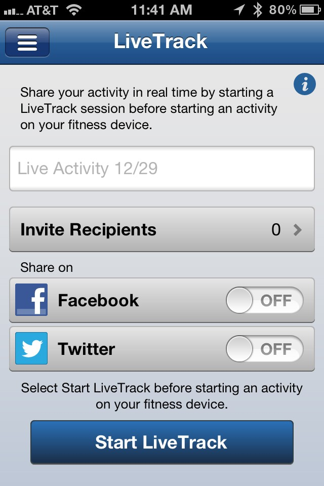 The new LiveTrack feature provides invited recipients (or your Facebook friends and Twitter followers) with your location and speed once you've started a ride