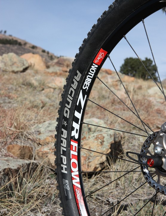 Custom wheels using Stan's ZTR Flow 29er rims and DT Swiss 240s hubs are built for Galpin by Wheelbuilder.com