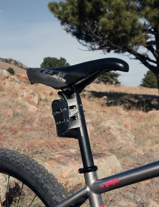 Instead of a saddle pack, Galpin simply tapes a spare tube to the seatpost